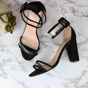 Bershka Black/Clear Block Heels 38